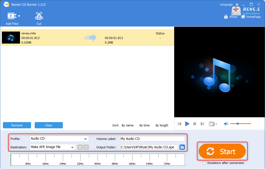 burn m4a file to cd with renee audio tools