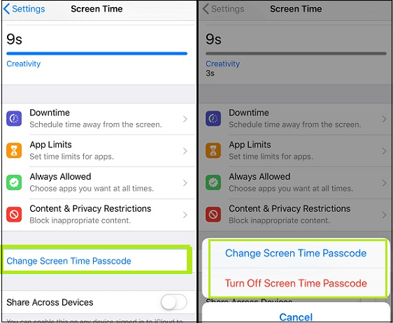 go to change screen time passcode in iphone