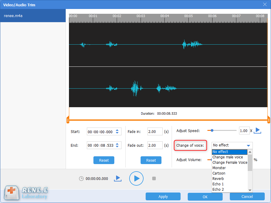 change special voice with renee audio tools
