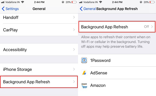 turn off background app refresh in iphone
