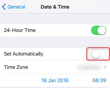 enable the automatic settings for iphone date and time
