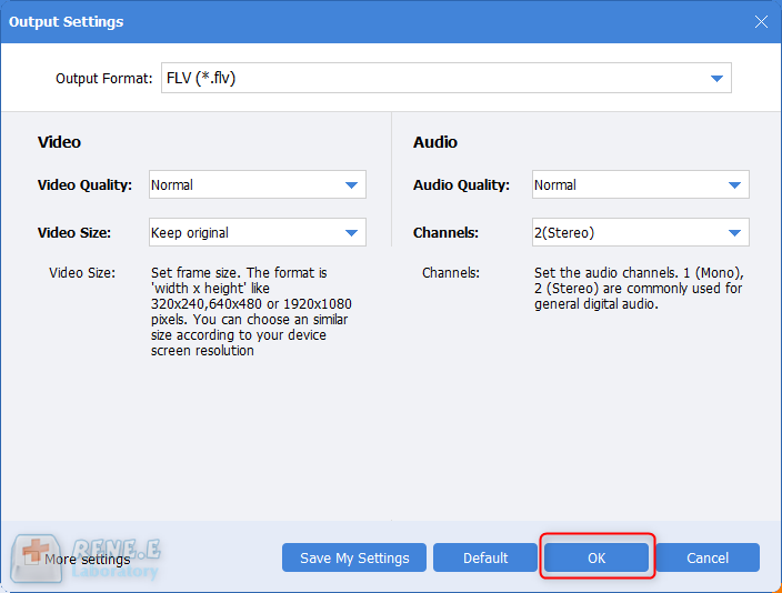 settings of the best video format converter renee video editor pro