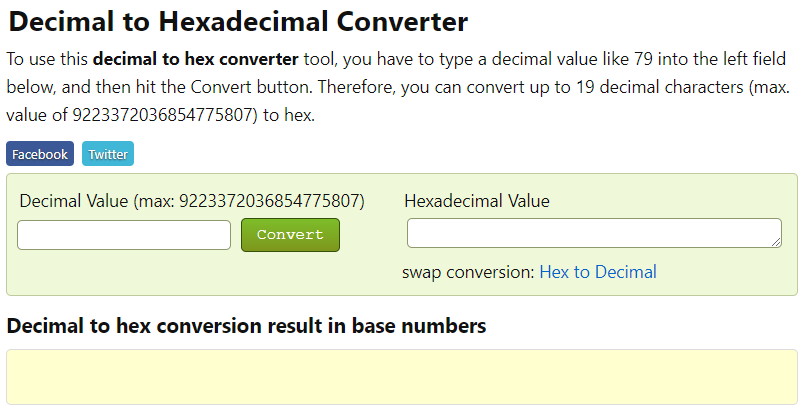 convert demical number to hexademical value online