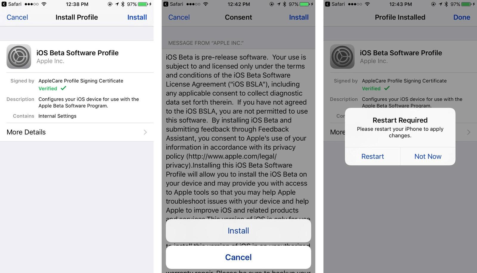 install ios beta profile and restart iphone