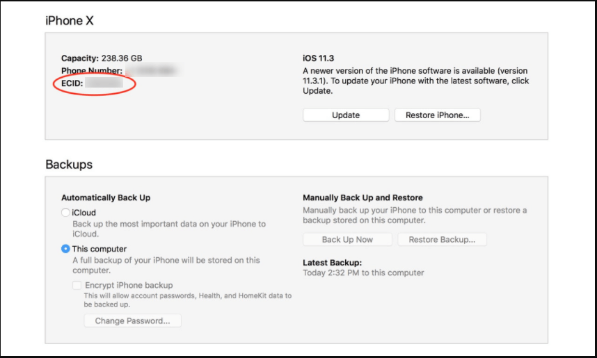 check iphone ecid number in itunes
