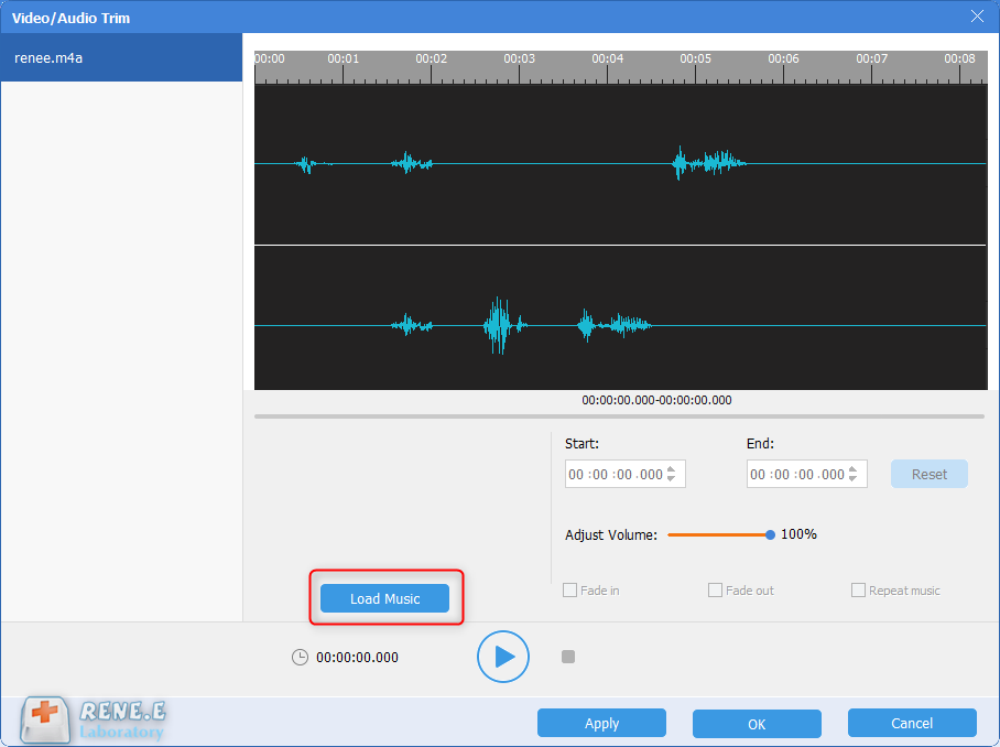 load music to mix with m4a file