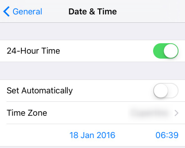 change the time and date in iphone