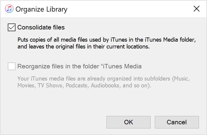 organize to consolidate the music files in itunes library