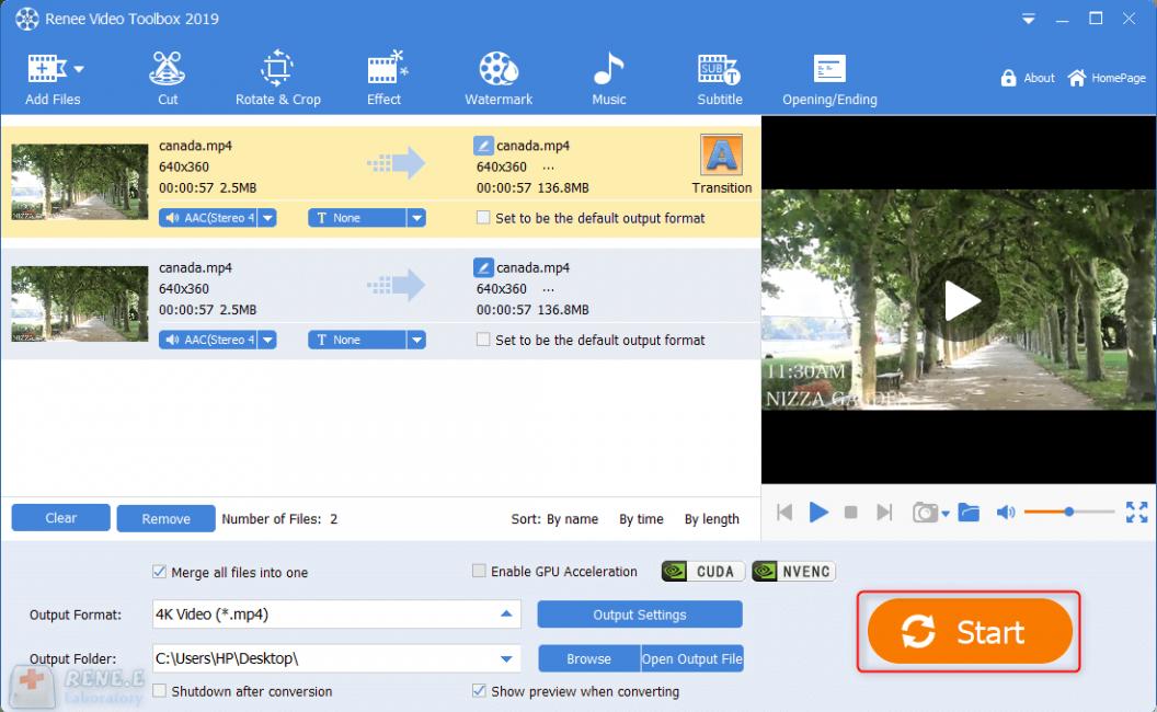 start to combine videos files in renee video editor pro