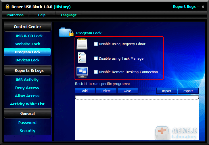 Disable Remote Desktop Connection renee usb block