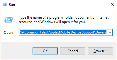 run apple mobile device driver and check the folder