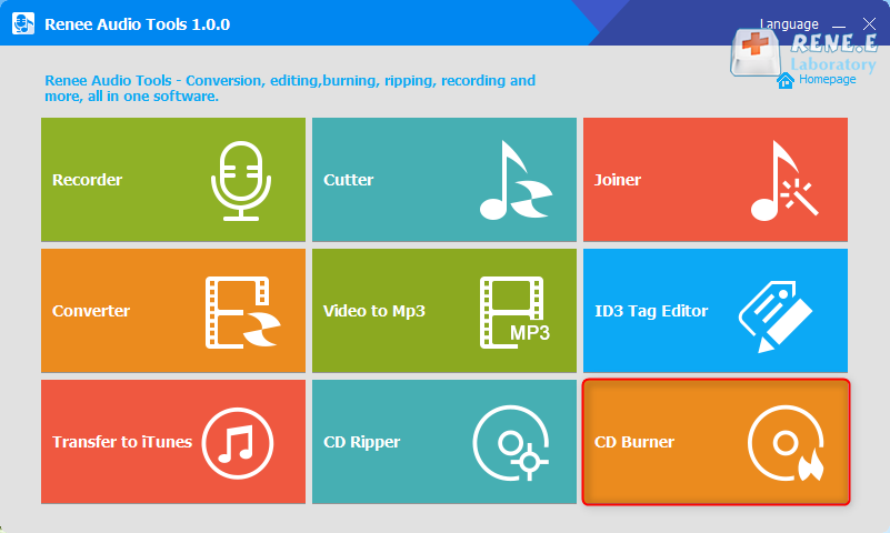 click cd burner in renee audio tools
