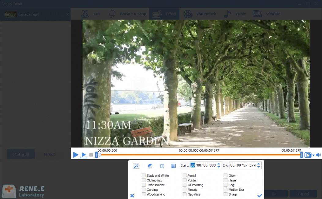 add special effects into mp4 video in renee video editor pro