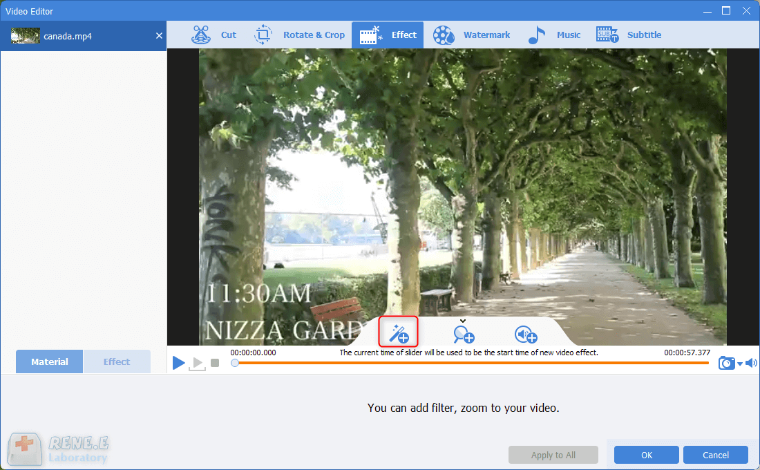 click to add video filter in renee video editor pro