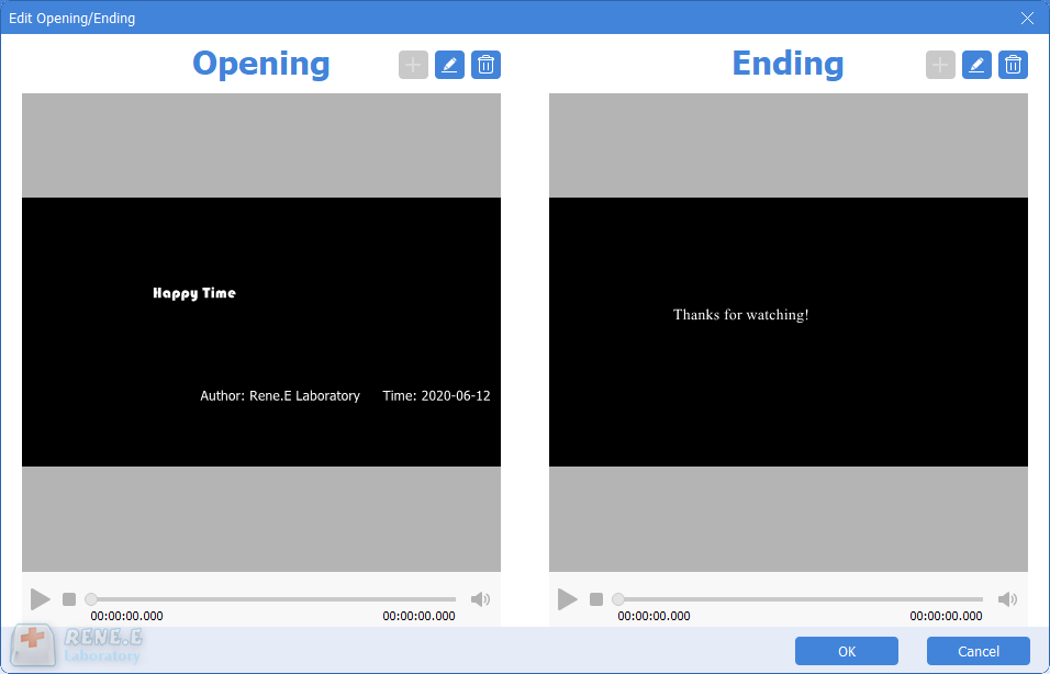 effect of opening and ending in renee video editor pro