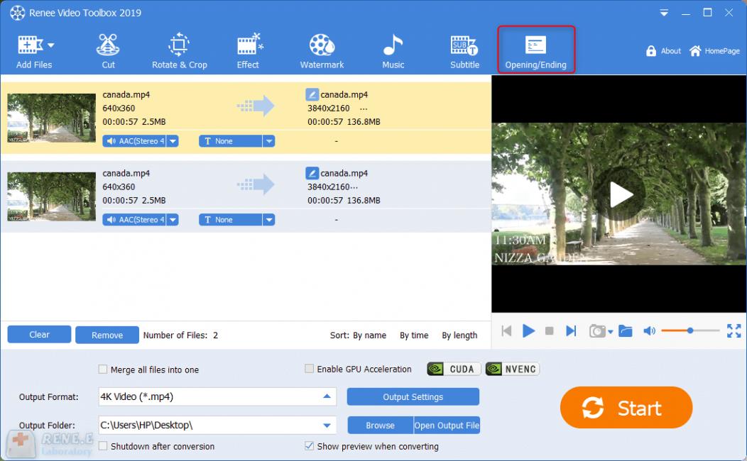 combine video files renee video editor pro