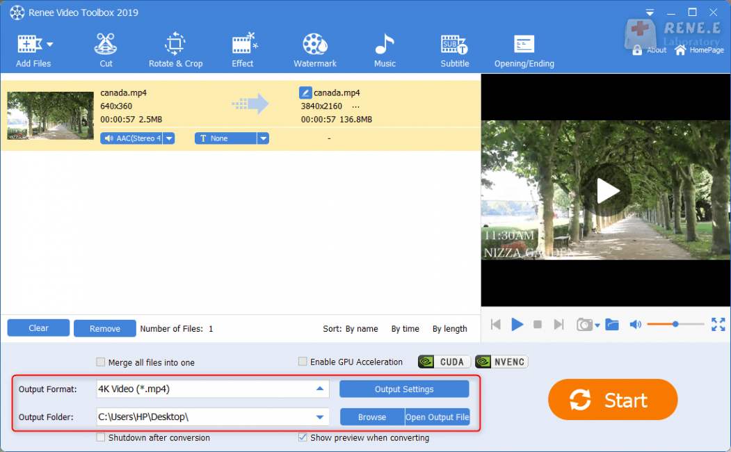 select output format and folder in renee video editor pro
