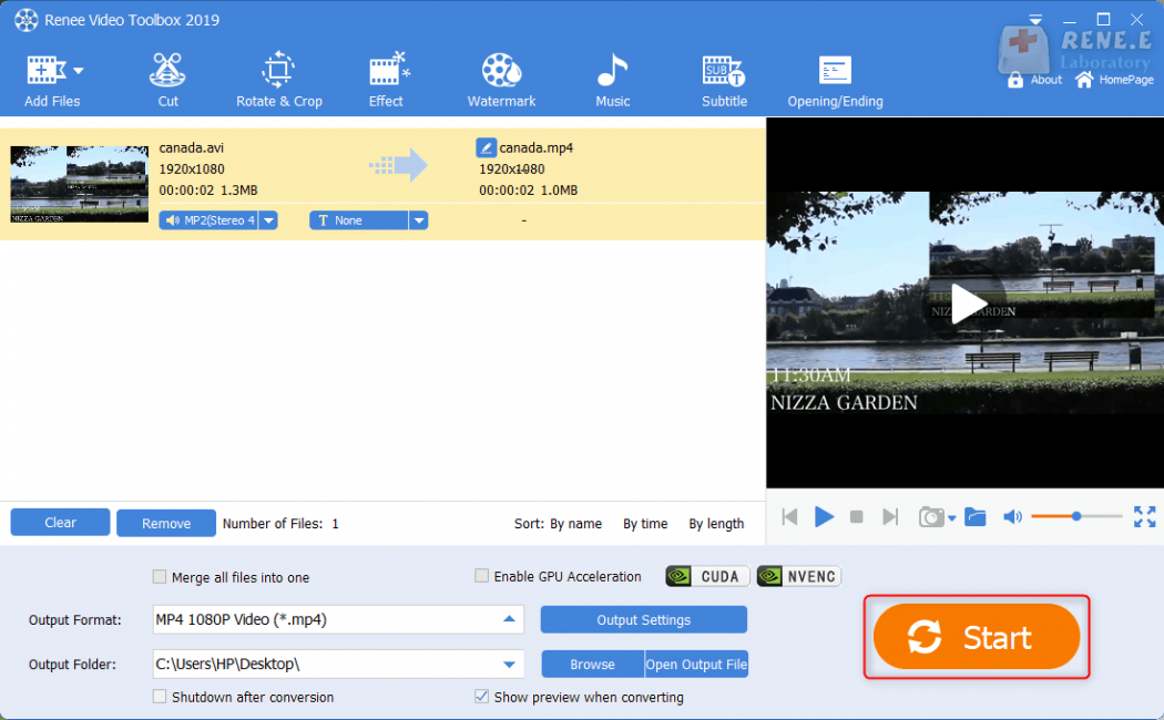 save avi to mp4 video in renee video editor pro for facebook video format