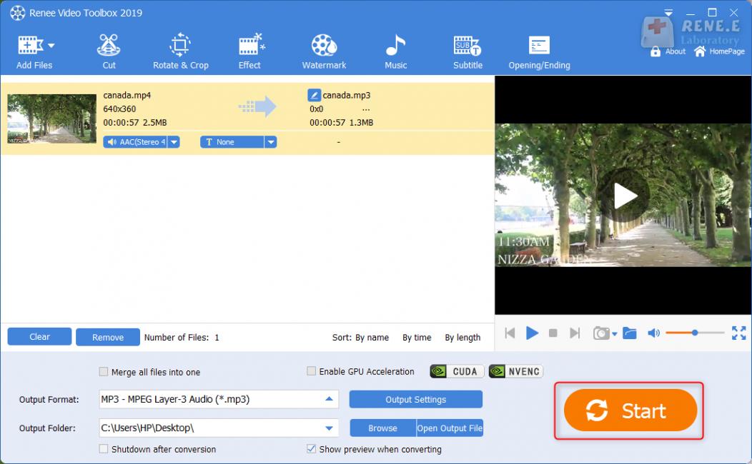 save mp3 audio file in renee video editor pro