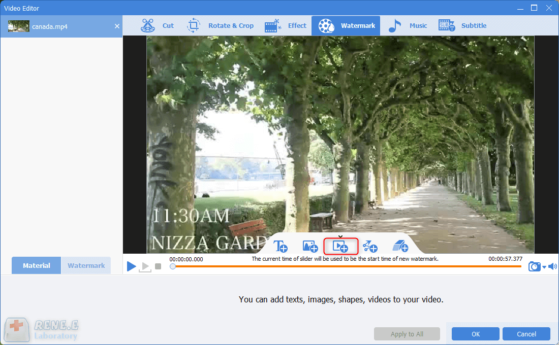 add video watermark to the video with renee video editor pro