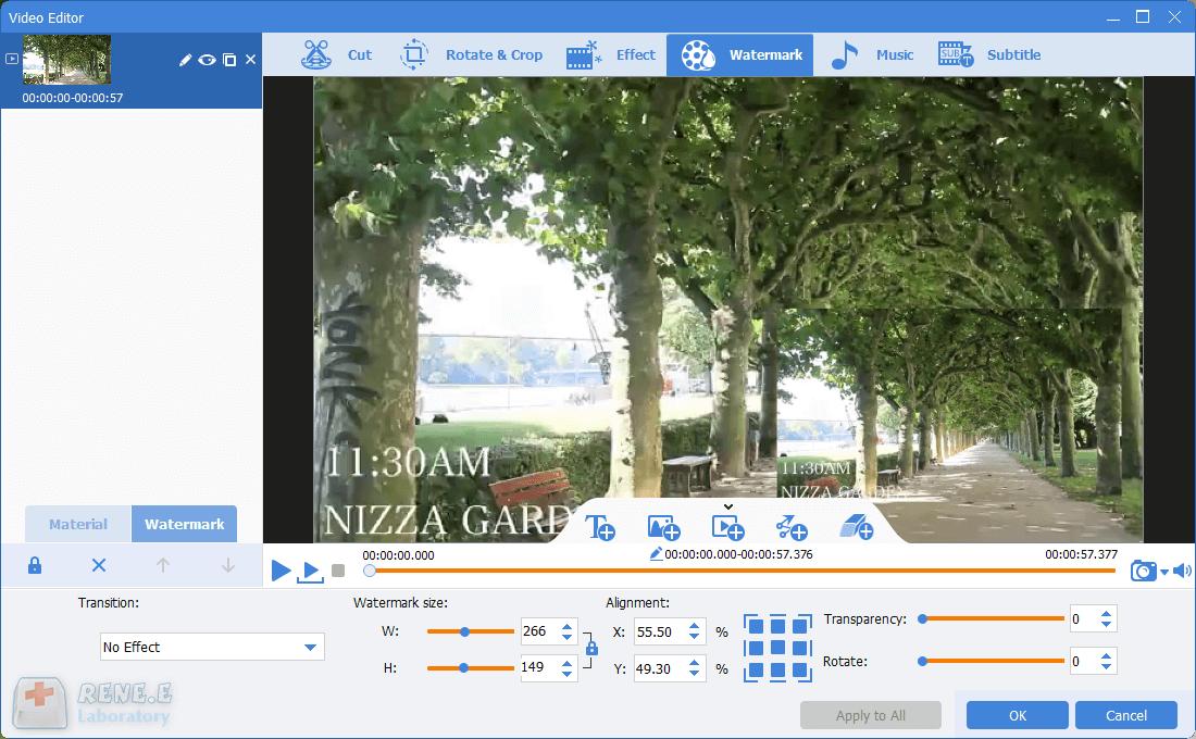 adjust the video watermark in renee video editor pro