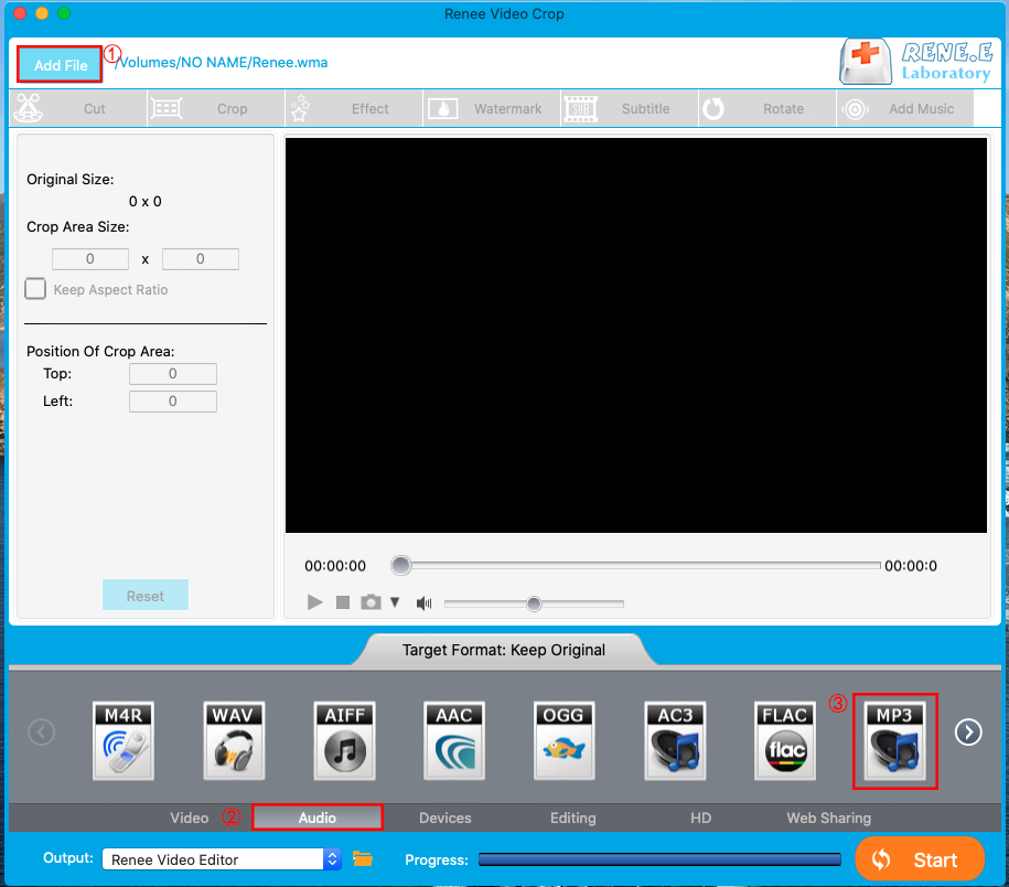 convert wma to mp3 on mac renee video editor