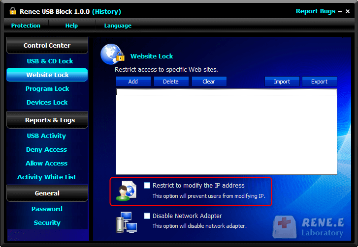Restrict to modify the IP address renee usb block
