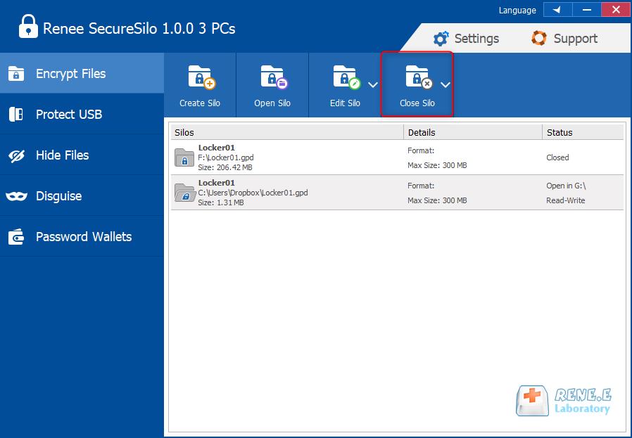 close the silo in dropbox folder in renee securesilo