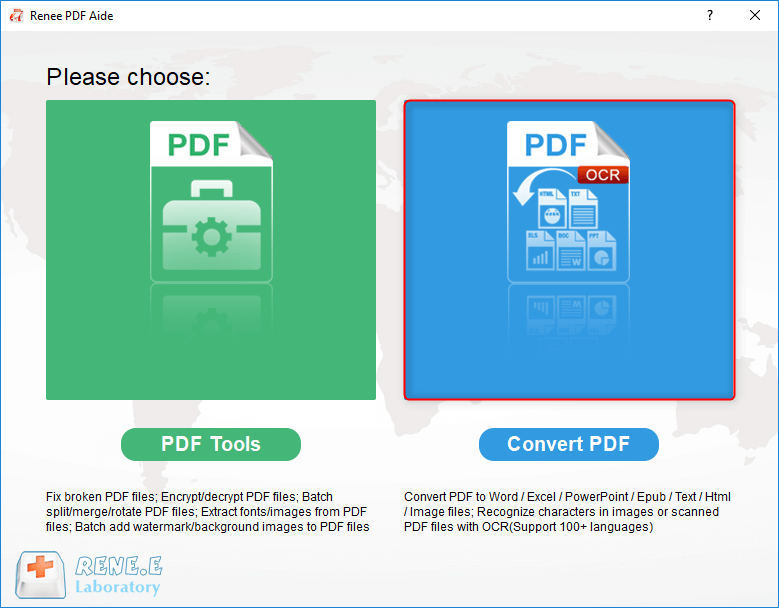 select to convert pdf with renee pdf converter