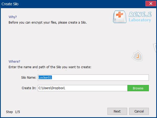 create a silo in dropbox folder with renee securesilo