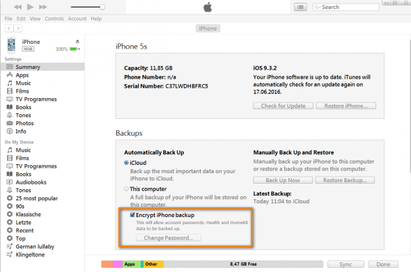 how to encrypt iphone back up in itunes
