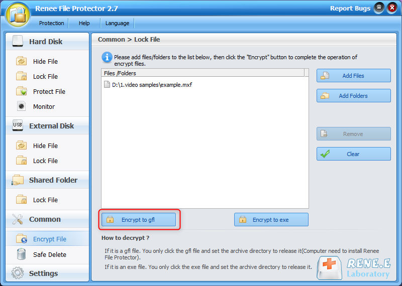 click to encrypt file to gfl with renee file protector