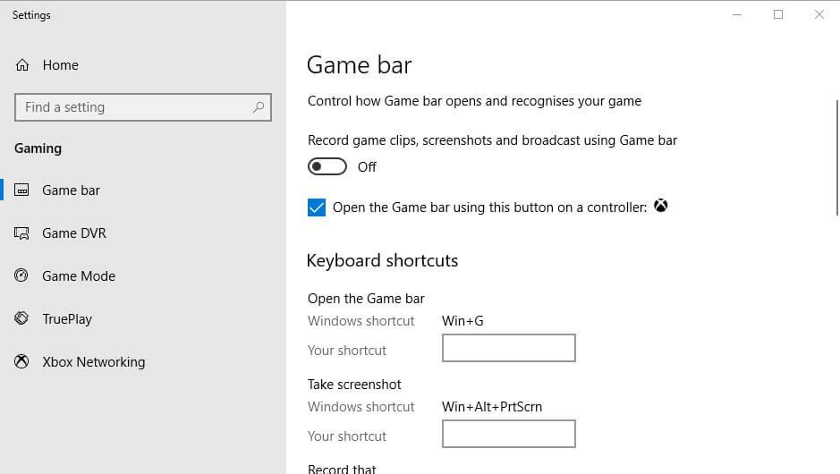 set recording settings in game dvr