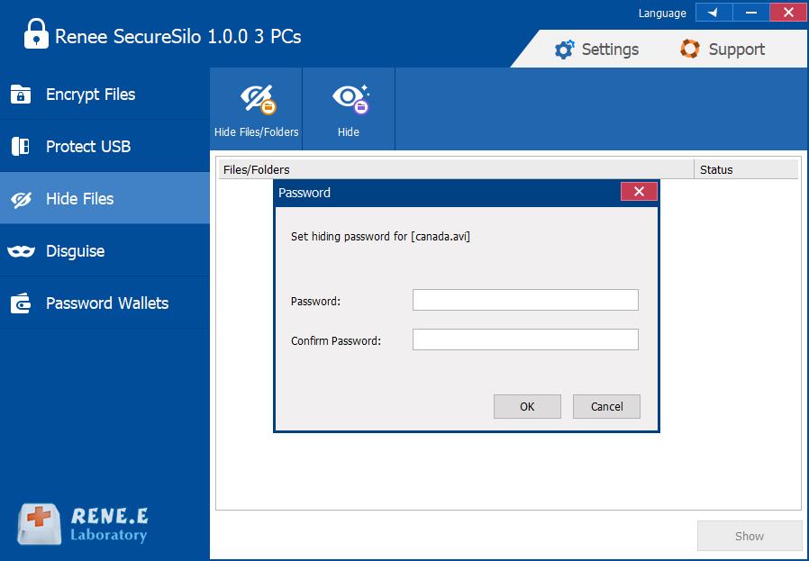 set password to hide silo renee securesilo