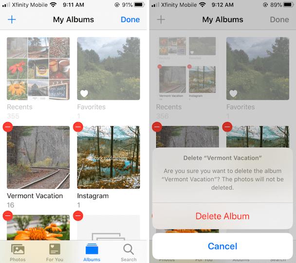 delete albums in iphone