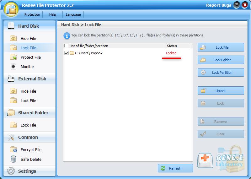 lock dropbox folder with renee file protector