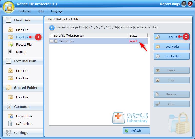 use renee file protector to lock zip
