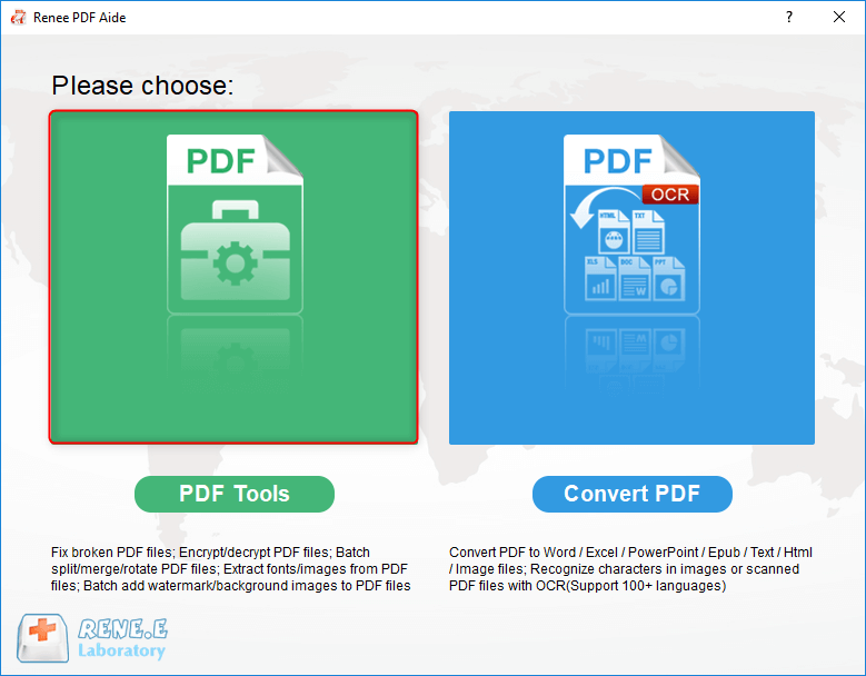 select pdf tools in renee pdf converter