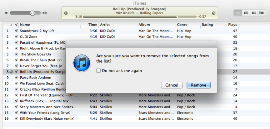 confirm to remove the song from playlist in itunes