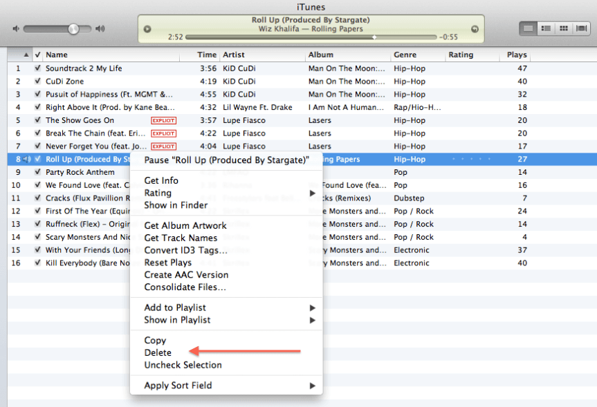 remove songs from playlist in itunes