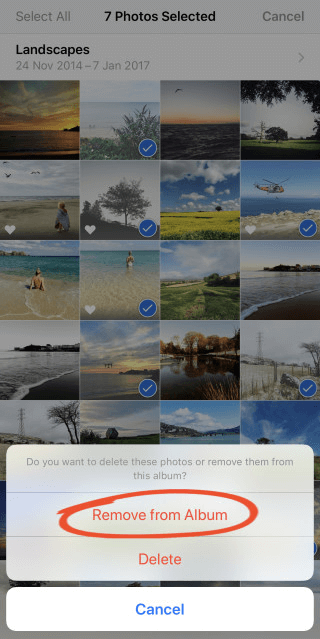 how to delete photos from iphone photo album