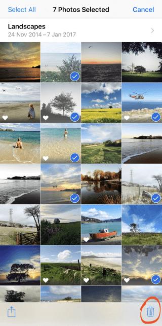 select photos to delete on iphone album