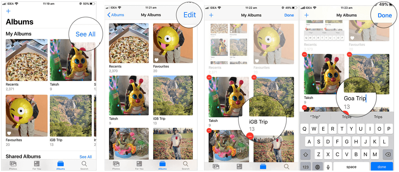 how to rename iphone albums