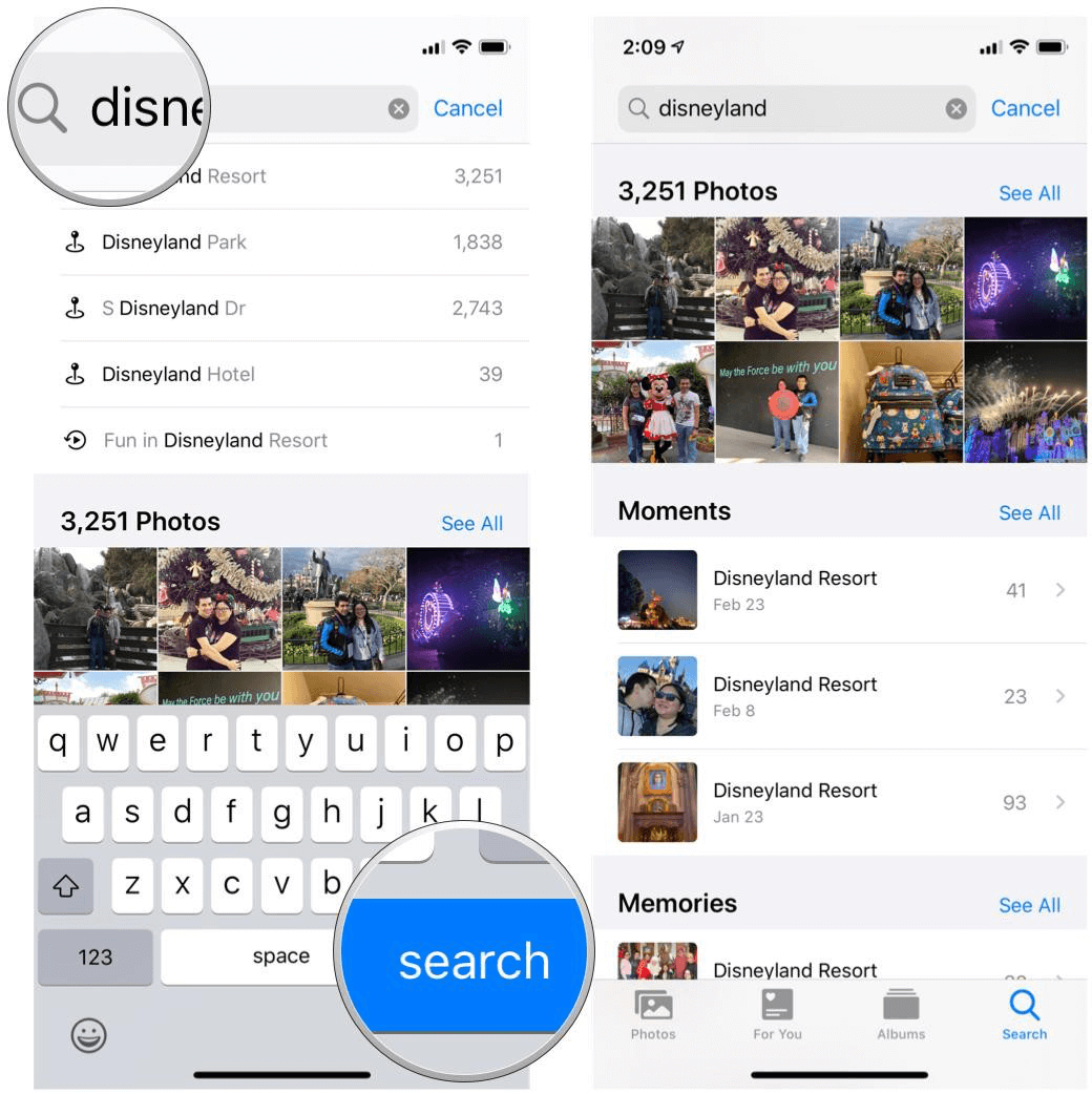 how to search photos in iphone album