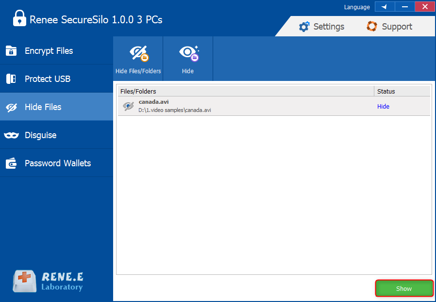 show the hidden files in renee securesilo