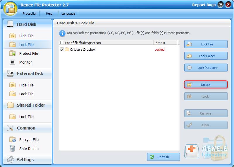 unlock dropbox folder with renee file protector