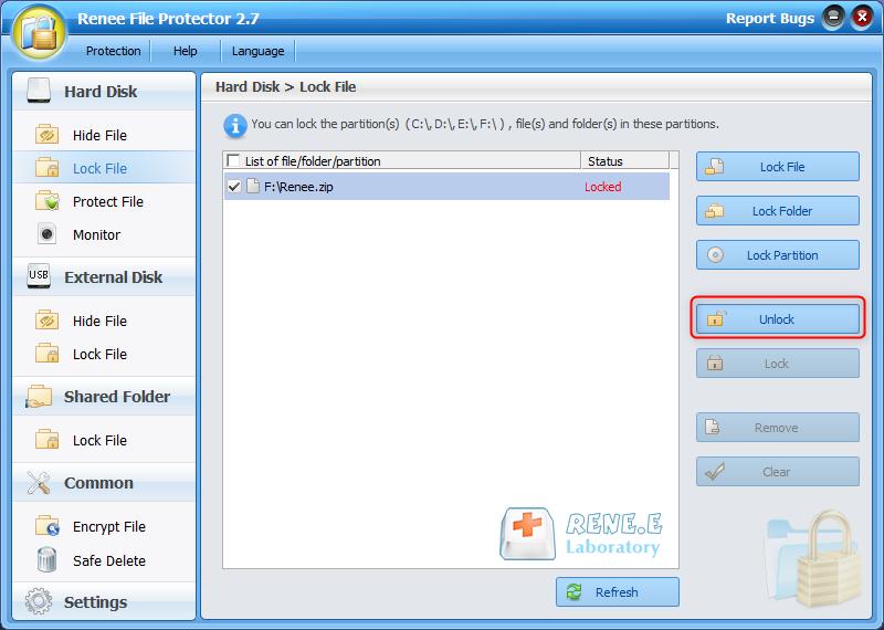 unlock the zip file in renee file protector