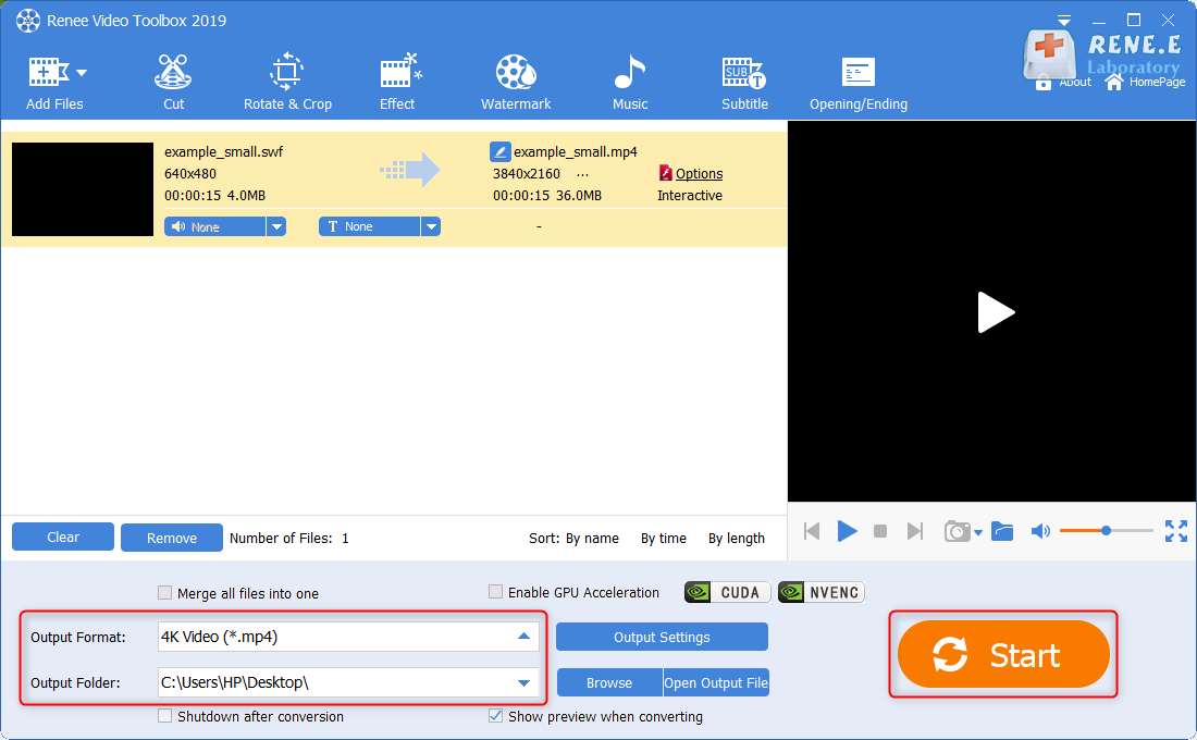 convert swf to mp4 with renee video editor pro