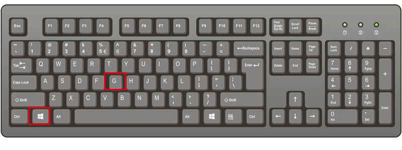 press win and g key to record