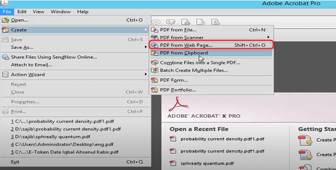 how to convert webpage to pdf with adobe acrobat